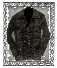 Steampunk Clothing Gothic Western Crown Skulls Men's Denim Buckle Jacket  M / L