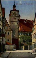 Rothenburg ob der Tauber Postkarte 1923 gelaufen Straßenpartie am Weißen Turm
