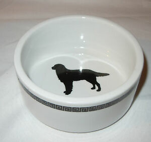 """STOP Brand 4.5"""" Grecian Stoneware White/Black Dog Dish - NEW WITH TAG"""