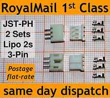 2x JST-PH connector plug: (Male, Female, 3 Crimps) for Lipo 2s extension adapter