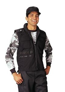Military 8 Pocket Tactical Ranger Vest W/Hood - Black, ACU, Wood Camo, Khaki, OD