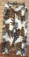FLORENCE & FRED WHITE BLACK BROWN FLORAL BELTED PAPERBAG CROP TROUSERS 18