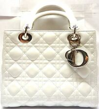 Christian Dior Lady Dior Medium White Leather Quilted Shoulder Handbag
