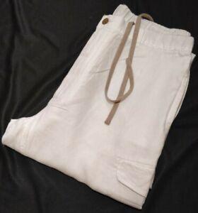 ROUNDTREE & YORKE CARIBBEAN Mens  linen Cargo trousers, WHITE