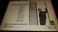 Bullitt Steve McQueen Rare Original 1969 Promo Poster Ad Framed!