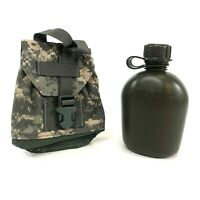 USGI 1 Quart Canteen w ACU Pouch, Heavy Duty Plastic Bottle, Military Olive Drab
