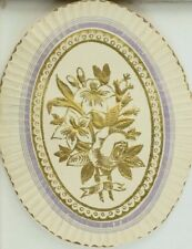 Embossed Dresden Fabric Label Flowers Rose A P55