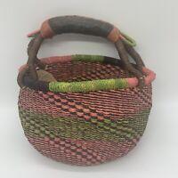 Handmade Ghana Signed Bolga Market Basket Colorful Africa Woven Leather Handle