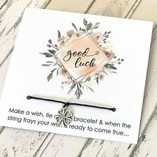 Wish String Bracelet Good Luck Card 4 Leaf Clover Charms Friendship Party #41