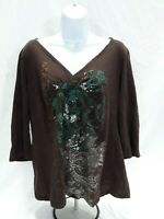 Women's XL Brown Cato Knit Top