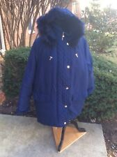 NEW Woman Within Blue Plus Size 5X Coat Jacket Microfiber Down Feather Hood
