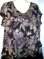 Womens Top Blouse Shirt Floral Print Knit Cap Sleeves Size XL Josephine Chaus