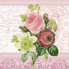 20 Paper Napkins MONICA Decoration DECOUPAGE SHABBY CHIC - Roses Lunchoen