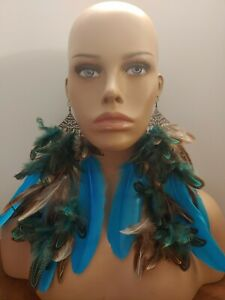 Huge new feather earrings Blue green