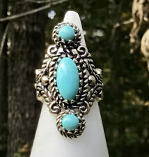 CAROLYN POLLACK Relios 925 Sterling Silver Sleeping Beauty Turquoise Ring Size 6