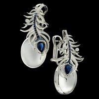 925 Silver Moonstone&Blue Sapphire Women Prom Jewelry Gift Ear Dangle Earrings