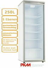 PKM Flaschenkühlschrank 250L Grau/Weiß Getränkekühlschrank LED Beleuchtung