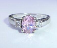 9ct White Gold Pink & White CZ Trilogy Ring, Size L