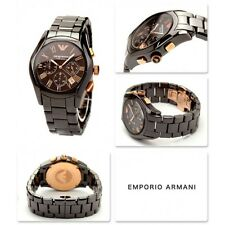 NEW EMPORIO ARMANI BROWN+ROSE GOLD,CERAMIC,CHRONOGRAPH,ROMAN #S WATCH-AR1446