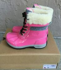 UGG Butte II Girls 13 YOUTH Pink Patent Sparkle Waterproof Winter Snow Boots