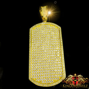 BIG ICY MENS WHITE LAB DIAMOND XL CUSTOM DOG TAG YELLOW GOLD G/P CHARM PENDANT