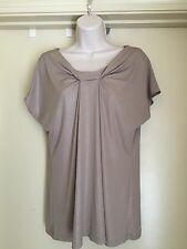 NEW YORK & COMPANY STRETCH  GOLD SHIMMER TUNIC CAP SLEEVES SIZE L - EUC