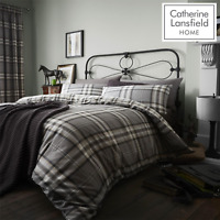 Catherine Lansfield Duvet Set Reversible Check Bedding Charcoal Pillows Curtain