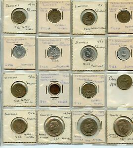 16 PC. CZECHOSLOVAKIA 1930/40'S COIN LOT!!!!..STARTS@ 2.99