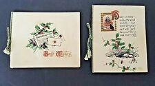 Vintage British 1930s Lot of 2 - Used Christmas Cards Decorative Cord Binding
