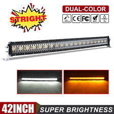 42 INCH LED Light Bar Amber White Strobe Flood Spot Beam 4WD Offroad Truck UTE