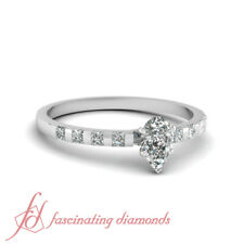 Pear Diamond Streamlined Bar Set Engagement Ring With Princess Accents 0.65 Ct