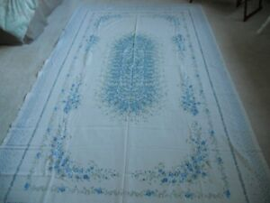"""Cream and blue  floral tablecloth oblong 51 1/2"""" x 83"""""""