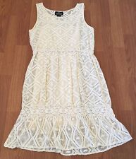 Angie Dress Size XL Beige Cream 100% Cotton Overlay Argyle Elastic Waistband