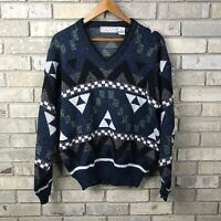Vtg 80s 90s Mens Large Michael Gerald Acrylic Knit Sweater Pullover Abstract OG