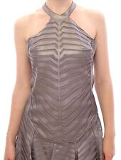 NWT $1300 Arzu Kaprol Silver Leather Striped Halter Neck Top IT40 /US6 /EU36 /S