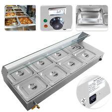 8-Pan Bain Marie Food Warmer 48L Buffet Steam Commercial Countertop 110V 1700W