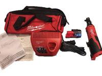 Brand New Milwaukee 12-Volt Cordless 3/8 in. Ratchet Kit 2457-21 1.5 Battery