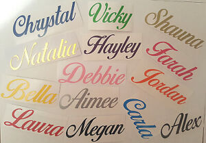 Personalised Name Word Fancy Vinyl Sticker Elegant Colours Glass Decal Script