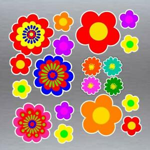 Set of 19 asst flower stickers hippie style set G vinyl flower power stickers