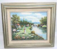 "W. Hodges framed impressionist painting 13x15"" Victorian Lady Stone Bridge River"