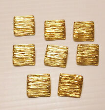 Shank Back,13mm Orange Shiny Gold 6 Vintage Square Art Deco Plastic
