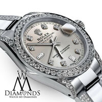 Women's 26mm Rolex SS Oyster Perpetual Datejust Custom Diamond Silver Dial