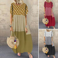 ZANZEA Women Full Length Polka Dot Sundress Kaftan Abaya Short Sleeve Maxi Dress