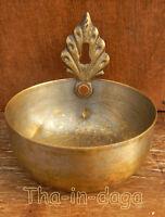 Ancienne Lampe a Huile Diya Dhokra Laiton 115g H=8cm Brass Oil Lamp Inde