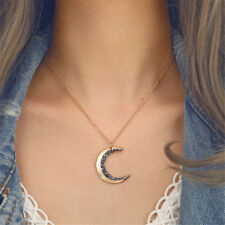 Exquisite Design Crystal Crescent Moon Black Necklace Pendant Jewelry For Gift