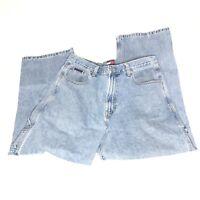 Vtg 2000s Tommy Hilfiger Men's Carpenter Jeans Spell Out Flag Light Wash Size 34