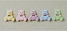 Flat Back Flocked Miniature Bears Pastel Colors 5pcs 1.5in  Crafts         B105