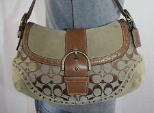 COACH Med Beige Brown Leather Shoulder Hobo Tote Satchel Slouch Purse Bag