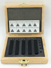 """3/8"""" 5PC INDEXABLE CARBIDE INSERTS TURNING TOOL BIT SET+10PC INSERTS"""