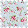 Cotton Canvas Fabric Homeware Craft Medium Floral Blue Vintage shabby Chic